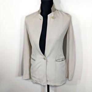 Helmut Lang Lamb Leather Ivory/Beige Wool Blazer
